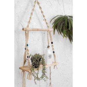 Boho Macrame Wood Hanging Planter Shelf NWT